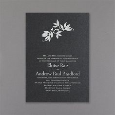 Boughs Wedding Invitation - Black Shimmer 40% OFF  |  http://mediaplus.carlsoncraft.com/Wedding/Wedding-Invitations/WA-WA30942FLBLK-Boughs--Invitation--Black-Shimmer.pro  |  WA30942FLBLK Patterned leaves are shown at the top of this invitation.