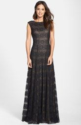 Vera Wang Cap Sleeve Lace Gown