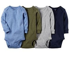 Carter's Baby Boys 4-pack Long-sleeve Bodysuits (12 months, solids)