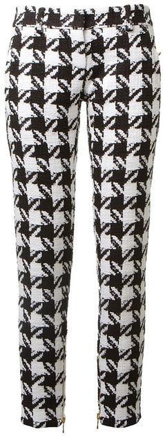 $2,312, White and Black Houndstooth Skinny Pants: Balmain Houndstooth Straight Leg Trousers. Sold by farfetch.com. Click for more info: https://lookastic.com/women/shop_items/31250/redirect