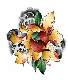 Lotus Flower Tattoo Design, Lotus Tattoo Design, Floral Tattoo Design, Skull Tattoo Design, Flower Tattoos, Japanese Peony Tattoo, Koi Dragon Tattoo, Hanya Tattoo, Vegas Tattoo