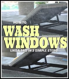 Wash Windows Like A Pro - using liquid dishwasher detergent, a sponge, a dishpan, a squeegee, and a microfiber cloth