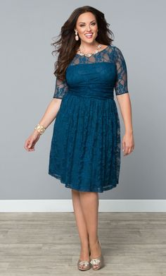 Our plus size Luna Lace Dress is a perfect special occasion dress for spring!   www.kiyonna.com  #KiyonnaPlusYou  #Plussize
