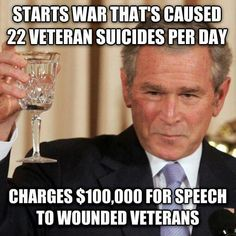 The Bush family first made their fortune by selling weapons to both sides in WWI. No wonder they were so ready to run into war, mo' money, mo' money....