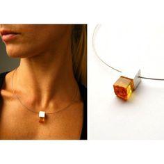 Silber 925 Anhänger + Kette Silber Halskette Lux B1 Herz mit Orange Bernstein