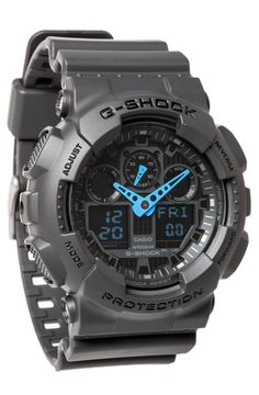 Casio Men's GA-100C-8ACR G-Shock Analog-Digital Display Quartz Gray Watch Bright Neon Blue Hands