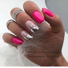 Gel Nail Art, Nail Manicure, Acrylic Nails, Fancy Nails, Cute Nails, Pretty Nails, Zebra Nails, Pink Nails, Gem Nails
