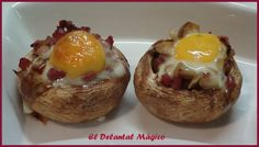 Madrid Food, Large Mushroom, Quail Eggs, Hors D'oeuvres, Food Platters, Canapes, Food Inspiration, Baked Potato, Stuffed Mushrooms