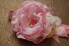 Light Pink White and Yellow Headband Baby Girl by AldonasBoutique,