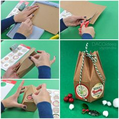 Diy Craft Projects, Diy Crafts, Christmas Gift Box, Beautiful Christmas, Create, Easy, How To Make, Products, Homemade