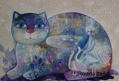 Le-lac-des-cygnes-29x42cm-orig-chat-chats-cat-cats-katze-gato