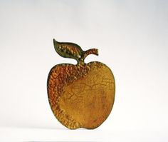 Gold Apple Decorative Wall Ornament Hand Cutted and Hand Painted Rustic Decor via Etsy