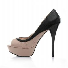 """Item Name: Miss Wonderful  For direct purchase:- http://christyng.com/product_info.php?products_id=601  Dimensions: 5.5"""" heel, 1.25"""" platform approx.  Color: Blush & Black Combination.  Sole: Treaded  Materials: Satin & All man made materials.  Style: Peep Toe Pump."""