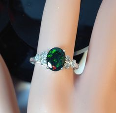 Gorgeous Green Red fire Natural Black Fire opal sterling silver ring with CZ accent stones, genuine black opal silver ring, top fire quality