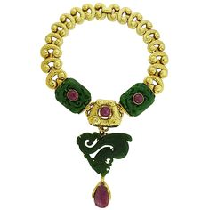 David Webb Jadeite Ruby Gold Necklace Brooch Combination  | From a unique collection of vintage pendant necklaces at https://www.1stdibs.com/jewelry/necklaces/pendant-necklaces/