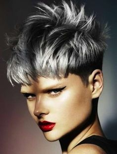 Silver-Hair Different Short Spiky Haircuts for Stylish Ladies Twist Hairstyles, Pixie Hairstyles, Cool Hairstyles, Ladies Hairstyles, Hairstyles 2016, Pixie Haircuts, Black Hairstyles, Love Hair, Great Hair