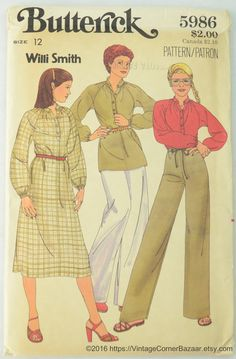 Check out Butterick 5986 Pattern Misses' Dress, Tunic, Top and Pants, Sewing Pattern, Size 12, UNCUT on vintagecornerbazaar