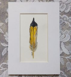 Flicker Feather Painting Original Feather by EMCorsaArtShop