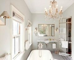 Epitome of understated glamour, bathroom design complete with chandelier - Brought to you by NBC& American Dream Builders, Hosted by Nate Berkus Nate Berkus, Classic Bathroom, Modern Bathroom, Design Bathroom, Gold Bathroom, Master Bathroom, Bathroom Ideas, Master Baths, French Bathroom