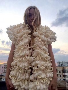 Купить Вязаный кардиган из шерсти - белый, однотонный, молочный цвет, кардиган, жилет вязаный Merino Wool Blanket, Tricot