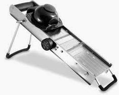 Usually called a mandolin, despite looking nothing like the instrument, large and expensive metal vegetable slicers used to be the only ones available.   Professional chefs can't live without them, but most home cooks can get by with an inexpensive plastic version for about a fifth the price.