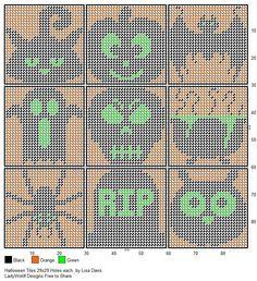 Halloween Tiles by Lisa Davis Plastic Canvas Coasters, Plastic Canvas Tissue Boxes, Plastic Canvas Crafts, Plastic Canvas Patterns, Halloween Canvas, Halloween Patterns, Halloween Designs, Cross Stitch Boards, Pixel Pattern
