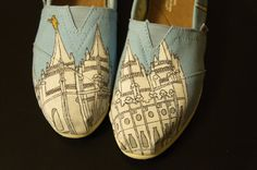 LDS Temple Custom Painted Canvas Shoes by WalkingInRoses on Etsy, $45.00