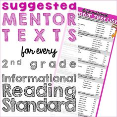 Informational Mentor Text List (for every 2nd Grade CCSS)