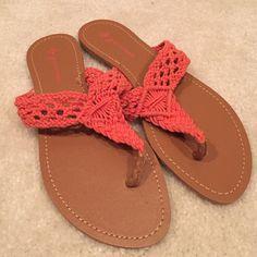 Macramé coral flip flop sandals. Comfy!!!! Coral flat cotton macramé sandals. Great for summer! Never worn Groove Shoes Sandals