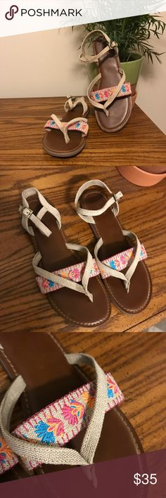 Toms Canvas Embroidery Lexie Sandal So cute, worn once. Toms Shoes Sandals