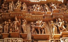 Khajuraho Temples-In accordance with the prevailing rule of architecture, erotic depiction got space in specific part of the structures. Khajuraho Temple, Travel Presents, India Images, Madhya Pradesh, World Heritage Sites, Temples, Erotic, Photo Galleries, Sculptures