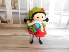 Knitted doll for girl Mini lady Amigurumi toy Girl gift