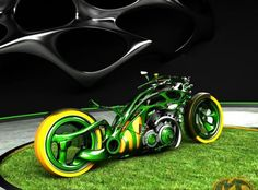 STRANGE CUSTOM RUSSIAN MOTORCYCLES - JOHN DEERE COLORS