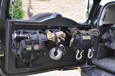 MPAC HD rear door rack with MOLLE bags cargo barrier with quickfist mounts and quick release knobs