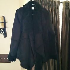 Size Med Black Calvin Klein Coat faux suede Only worn once, it was an impulse buy Calvin Klein Jackets & Coats