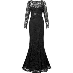 Ariella dakota longsleeve lace evening gown ($405) ❤ liked on Polyvore featuring dresses, gowns, black, women, long sleeve gown, black lace dress, black sequin dress, black lace gown and long sleeve black dress
