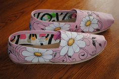 New Toms Designed with Daisies and Swirls custom Hand Painted shoes  size 10 - please note these shoes are sold and for display options only