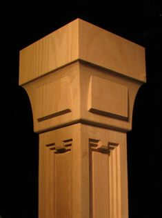 A solid 4 sided post featuring the ART DECO inspired pilaster and capital series. Shown as a 6 wide top, 4 wide main post and art termination at Columns Decor, Wooden Pillars, Wood Mantels, Wood Front Doors, Carpentry Projects, Wood Post, Art Deco Pattern, Z Arts, Art Deco Design