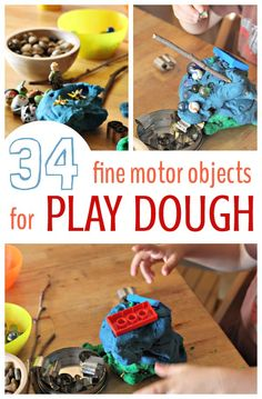Playdough activities and ideas for fine motor play. Add these objects to your child's play dough fun to extend the activity beyond squeezing and shaping.