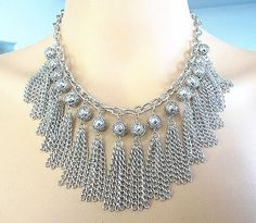 Rhodium bib statement tassel necklace and earring sets, statement necklace, fringe necklace, tassel necklace, wedding necklace on Etsy, $13.99