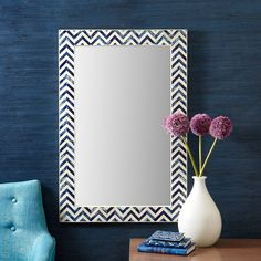 Chevron Indigo Bone Wall Mirror @Zinc_Door