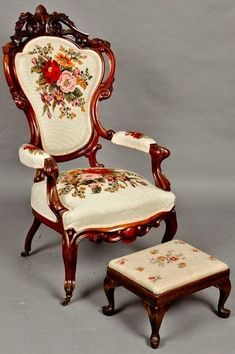 Heavily carved Rococo Revival needlepoint armchair with stool, mid century. Heavily carved Rococo Revival needlepoint armchair with stool, mid century. Victorian Chair, Victorian Furniture, Victorian Decor, Furniture Styles, Victorian Homes, Victorian Era, Rustic Furniture, Antique Furniture, Furniture Decor