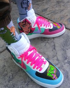 Custom Painted Shoes, Custom Shoes, Kicks Shoes, New Shoes, Nike Shoes Photo, Nike Shoes Air Force, Hype Shoes, Fresh Shoes, Custom Sneakers