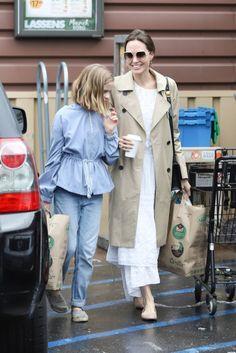 Jolie Pitt, Le Jolie, Shiloh Jolie, Angelina Jolie Style, Khaki Coat, Cotton Frocks, Light Jacket, Black Jumpsuit, Brad Pitt