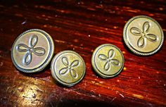 Old bronze floral buttons set of 4 Smaller by VickiesVintageroom