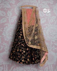 SMF LEH 273 17 I Midnight with floral threadwork lehenga with peach sequin dupatta and pink threadworj blouse