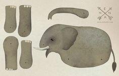 """Du benötigst zum Zusammenbauen des Elefanten 3 kleine Musterklammern, sogenannte """"mini brads"""" aus dem Bastelladen. Oder Du verwendest Nadel und Faden sowie kleine Glasperlen, um die Teile mit..."""