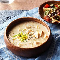 Chicken and rice soup goes Greek when you add lemon and pair it with a fresh pita panzanella salad.