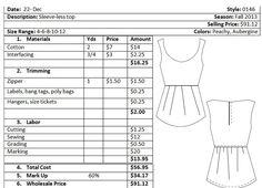 cost sheet template