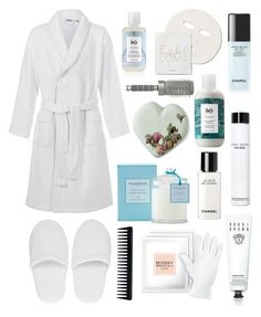 """""""Pamper Me"""" by tasha-m-e ❤ liked on Polyvore featuring R+Co, John Lewis, Versace, Bobbi Brown Cosmetics, Bioxidea, GHD, Chanel, Eve Lom and T3"""